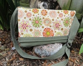 Green Messenger Bag with retro orange flowers