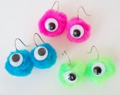 Fuzzy Eyeball Earrings With Google Eyes Blue Pink Or Green