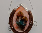 Sun Catcher Stained Glass Horse Shoe Peach Peacock Feather