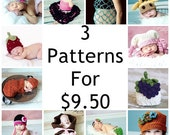 3 PDF Crochet or Knit PATTERNS for 9.50