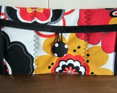 Quilted Clutch with Vintage Button Red Yellow & Black Floral