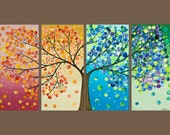 "48x24 Original Modern Abstract Heavy Texture Impasto Acrylic Painting Landscape Tree Wall Decor ""365 Days of Happiness"" - QiQiGallery"