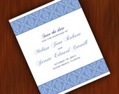 Vintage Save The Date Cards with Elegant Damask