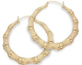 18k Gold filled Bamboo Doorknocker Hoop Earrings