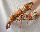 Arm Warmers Brown and Orange, Tattered, Wrapped Wrists, Cuffs, Eco Funky Style.