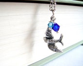 Silver Bird and Blue Crystal Necklace - One Day I'll Fly Away - Free Shipping
