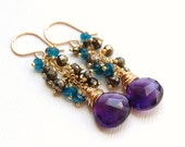 Peacock Earrings in Gold Fill - Amethyst, Pyrite and Apatite