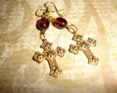 EASTER CROSS Dangle Earrings  Gold Filigree Coffee Brown Beads Mothers Day  Bohemian....By Spirit Designs by KC