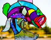 Abstract Beauty Fancy Large Mouth Bass  Stained Glass