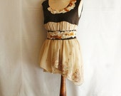 Fairy Tunic with Romantic Tattered Neck and Belt. Funky Eco Style.