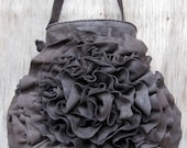 Distressed Dark Brown Leather Ruffle Rosette Bag by Stacy Leigh Ready to Ship - stacyleigh