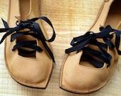 UK 5 Handmade Vegan Fairy Shoes in Wheat, PUCK 1825