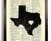Texas State Dictionary Book Print Upcycled Book Art Upcycled Vintage Book Print Antique Dictionary Buy 2 Get 1 FREE