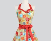 Womens Sweetheart Hostess Apron - Sexy Retro Ruffled Sweetheart in Katie Floral of Paprika Blue and Orange