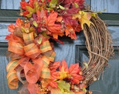 Fall Wreath Autumn Wreath Leaves and Berries with Plaid Bow 14 inch