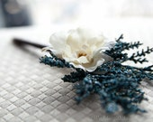 Wedding Guestbook Pen - blue winter Shabby chic rustic flower pen