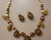 Organic, Recycled Seed Necklace and Earrings