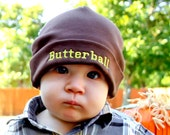 Small 3 to 6 month... Brown hat...Butterball in yellow... Ready to Ship...Infant Toddler...Baby ButtonTops