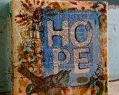 "6x6 mixed media canvas with resist, entitled, ""hope"""