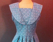 60s dress / blue frock / cotton day dress / sailor collar dress