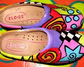 Hand painted leather Klog Shoe size 7
