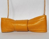 Upcycled Mustard Yellow Bow Necklace