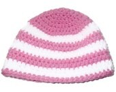 Soft Pink and White Crochet Beanie