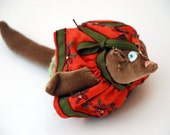 Felt Christmas Ornament - Hand Embroidered Squirrel Tree Decoration II