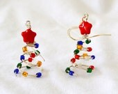 Christmas Earrings.  Christmas trees colorful lights, Sterling Silver with Red stars .