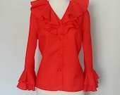 Valentines Day - 70s red ruffle mad men party blouse shirt sm med