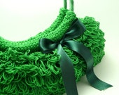 Lucky green crocheted Handbag shamrock green spring fashion