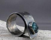 Apatite Oxidized Silver Ring