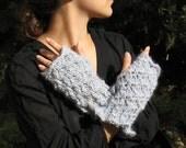 Alpaca wool gloves Blue grey fingerless mittens bulky chunky pure gray knitted wrist warmer gauntlets soft warm fluffy organic yarn ruffle