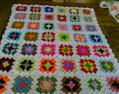 CROCHET BLANKET Handmade -  Made in Tradition Granny multi colour style with white border 761 m