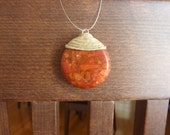 HAPPINESS  PENDANT.  Handmade round Pendant, metal wire and magnetic clasp.