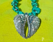 The TURQUOISE ANGEL Necklace Turquoise Semi Precious Howlite Chunky Stones Blinged Double Angel Wings