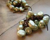 Pearl cluster dangle earrings, light green, on copper