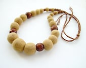 Hand Dyed Felted Bead Necklace - AOOK Khaki Handmade Wool Jewelry - ready to ship