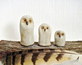 Modern Minimalist Stoneware Snowy Owl Trio Sculptures, Set of Three
