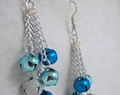 Blue Christmas Bell Earrings