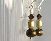 Chocolate Mint Pearl, Crystal & Sterling Earrings
