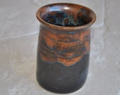 Copper and Black Stoneware Vase
