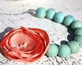 Fabric flower necklace, Bridesmaid flower necklace, peach and aqua anthro inspired necklace