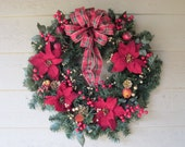 Traditional Holiday Wreath with Plaid Tartan Bow and Poinsettias