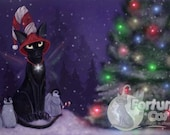 Winter Christmas Holiday fantasy black cat art print