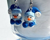 Blue Snowman Earrings, FREE Shipping