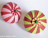DIY Paper Ball Ornament Kit - Chocolate  and Polka Dots (Lime and Pink)