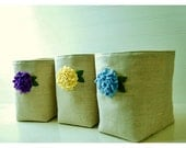 Flower Oatmeal LInen Box bin basket Storage Set 3  Wedding Party Gift Wrap Purple blue yellow Fabric Organizer tagt team