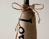 "Burlap Bottle Bag ""Love"" Wedding Favor, Decoration Set Of Ten - sweetcs"