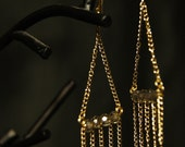 the lightest chandelier earrings with fringe gold